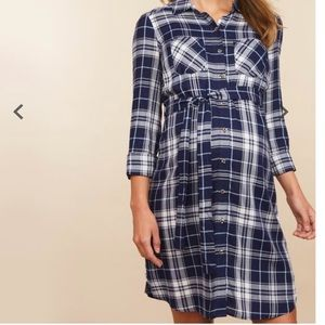 Navy plaid tunic dress
